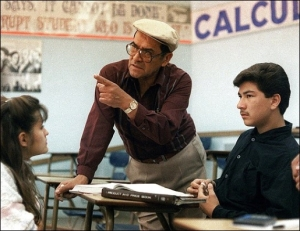 Johnny Can't Read: Jaime Escalante teaching calculus.